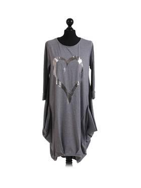 Cocoon Romance Heart Dress - Dark Grey