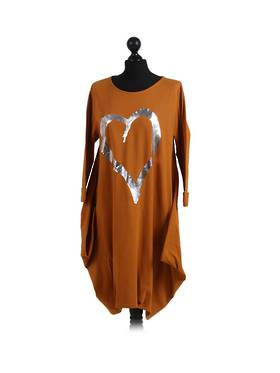 Cocoon Romance Heart Dress - Mustard