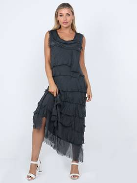 Colette Silk Tiered Long Dress Charcoal