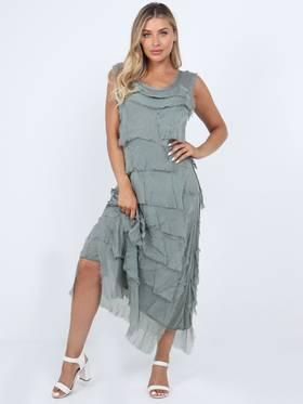 Colette Silk Tiered Long Dress Khaki