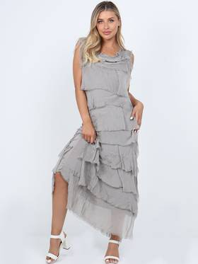 Colette Silk Tiered Long Dress Mocha