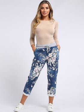 Denver Floral Dark Blue Trousers 10-14