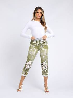 Denver Floral Olive Trousers Size 12-14