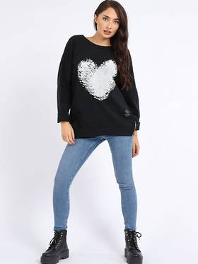 Finger Print Cotton Heart Sweater Black