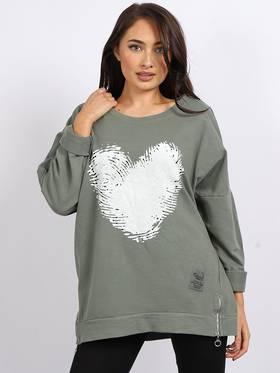Finger Print Cotton Heart Sweater Khaki