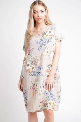 Fleur Linen Dress Beige