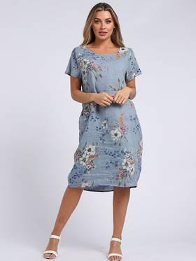 Fleur Linen Classic Dress Denim Blue
