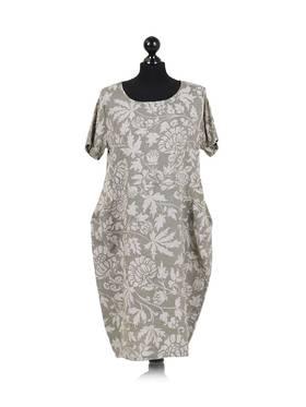 Fleur Foliage Linen Dress Khaki