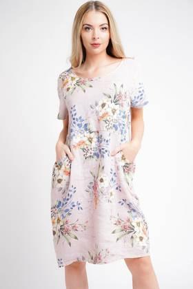 Fleur Linen Dress Pale Pink