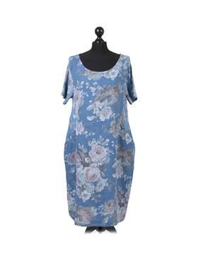 Fleur Linen Dress Pastel Blue