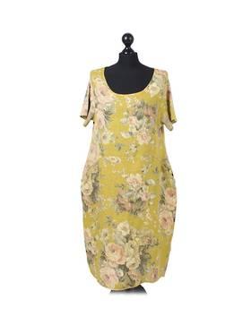Fleur Linen Dress - Pastel Mustard