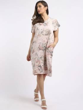 Fleur Linen Dress - Pastel Pink
