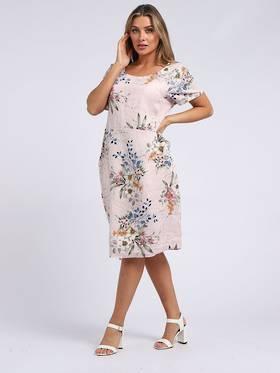 Fleur Classic Linen Dress Pale Pink