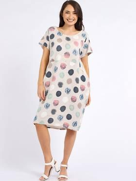 Fleur Linen Dress Spotted Beige