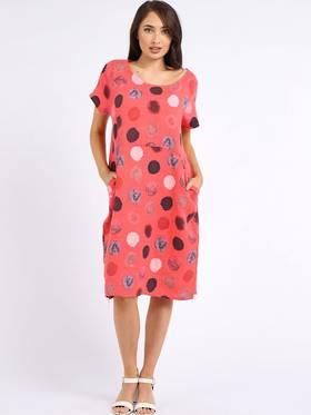 Fleur Linen Dress Spotted Coral