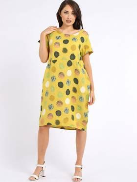 Fleur Linen Dress Spotted Mustard