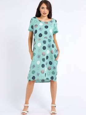 Fleur Linen Dress Spotted Tiffany Blue