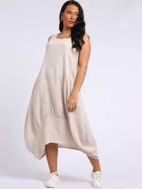 Gabriella Linen Dress Beige