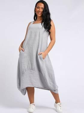 Gabriella Linen Dress Light Grey