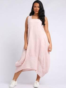 Gabriella Linen Dress Light Pink