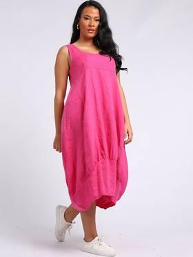 Gabriella Linen Dress Fuchsia