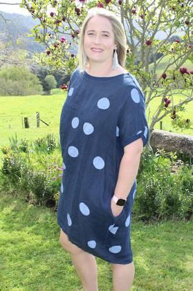 Gigi Linen Spotted Navy Top/ Dress