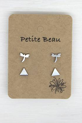 Petite Beau Stainless Steel  Dragonfly/Triangle Earrings