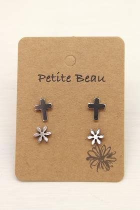Petite Beau Stainless Steel Cross/ Daisy Earrings