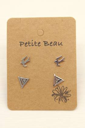 Petite Beau Stainless Steel Bird/Maze Earrings