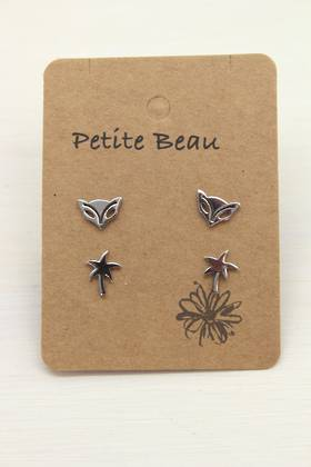 Petite Beau Stainless Steel Palm/ Fox Earrings