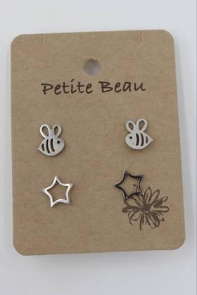 Petite Beau Stainless Steel Bee/Star Earrings Silver