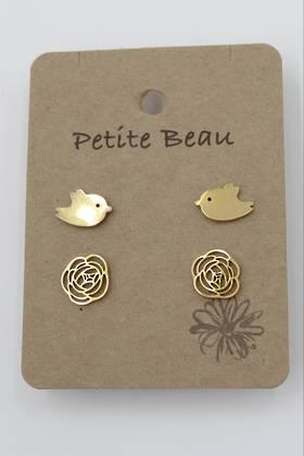 Petite Beau Stainless Steel Bird/Flower Earrings Gold