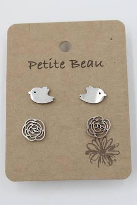Petite Beau Stainless Steel Bird/Flower Earrings Silver