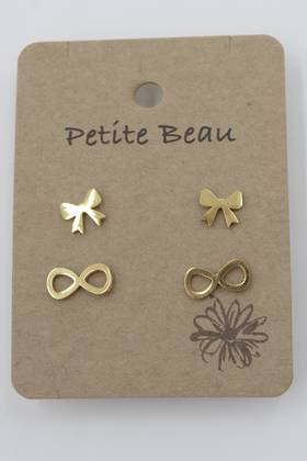Petite Beau Stainless Steel Two Bow Earrings Gold