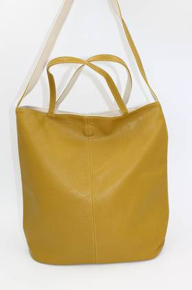 Tote Mustard & Beige Reversible Handbag
