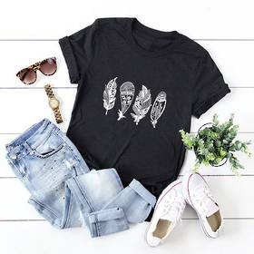 Feather Art T-Shirt Black Pack of 4 (10,12,14,16)