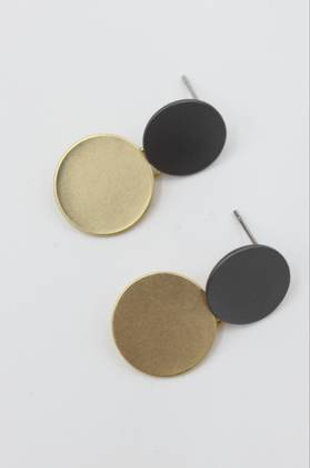 Gunmetal and Gold Dot Earrings
