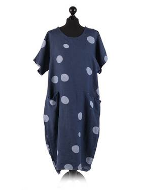 Isabella Linen Spotted Dress Navy