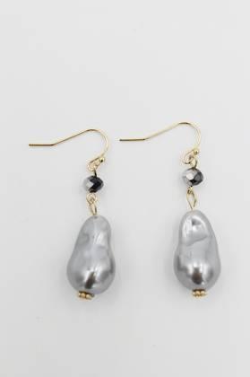 Nugget Grey Pearl Earring
