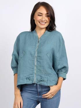 Mia Linen Jacket Ocean Blue