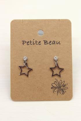 Petite Beau Stainless Steel Star Diamond Earrings