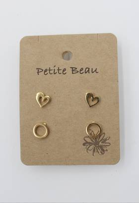Petite Beau Stainless Steel Heart/ Circle Earrings Gold