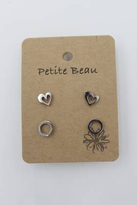 Petite Beau Stainless Steel Heart/Circle Earrings Silver