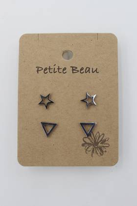 Petite Beau Stainless Steel Star/ Triangle Earrings Silver