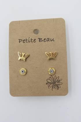 Petite Beau Stainless Steel Earring Butterfly/ Diamond Earring Gold
