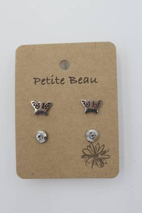 Petite Beau Stainless Steel Butterfly/Diamond Earrings Silver