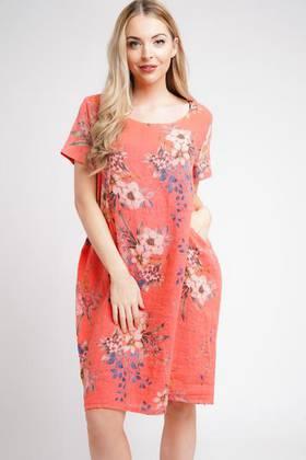 Fleur Linen Dress Coral
