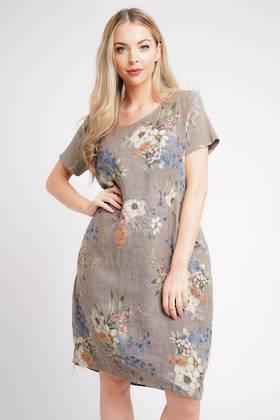 Fleur Linen Dress Coffee