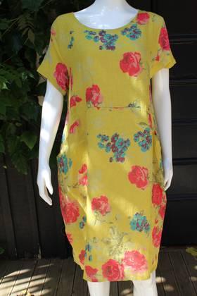 Fleur Linen Dress Peony Mustard