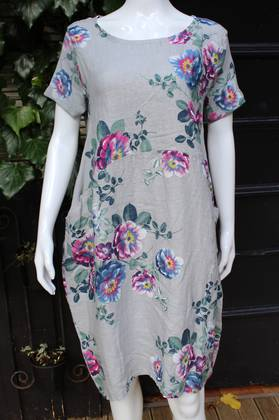 Fleur Rose Pattern Linen Dress Grey